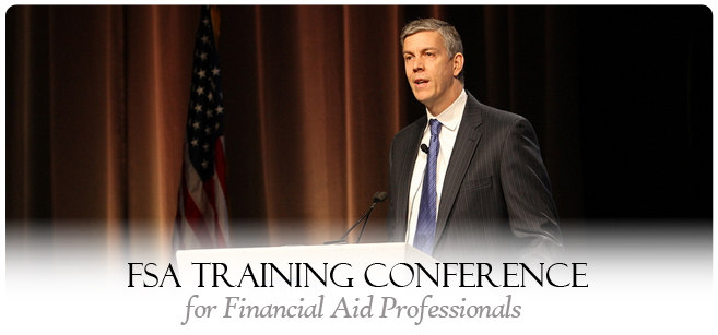 Secretary Arne Duncan speaks at the FSA Financial Aid Training Conference